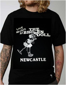 live music at the broken doll newcastle printed t-shirt